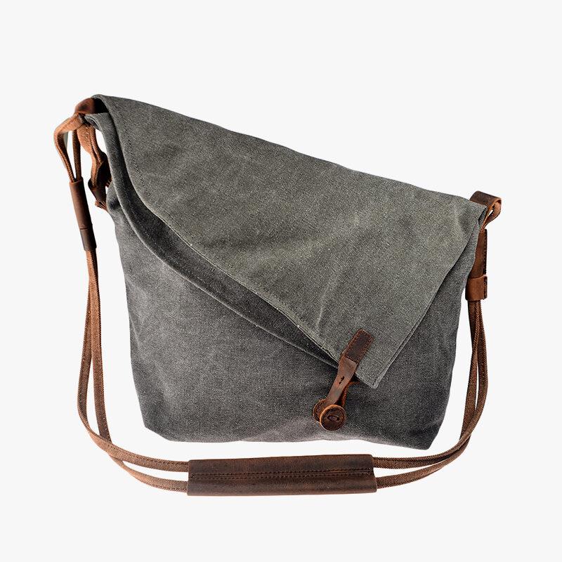 Crazy Horse Canvas Leather Messenger Bag